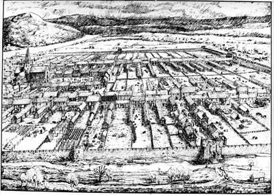 Perth in the Middle Ages, birds' eye view