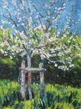 Apple Tree May in Parke by Roger Dennis, Painting, Oil on Board