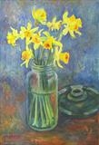 Daffodils in kilner jar by Roger Dennis, Painting, Acrylic on paper