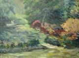 Dartington Swan and Azaleas by Roger Dennis, Painting, Oil on Paper on Board