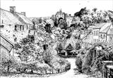 Dunster, Somerset: Yarn Market, 1980 by Roger Dennis, Drawing, Pen on Paper