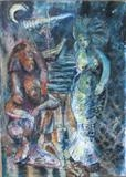 Fishermen at Night by Roger Dennis, Painting, Mixed Media on paper