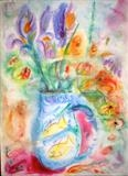 Flowers and Fishjug 2 by Roger Dennis, Painting, Watercolour on Paper