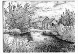 Hornsbury Mill, near Chard, Somerset by Roger Dennis, Drawing, Pen on Paper