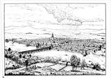 Medieval Perth from across the Tay by Roger Dennis, Drawing, Pen on Paper