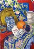 Still Life with patterned drape by Roger Dennis, Painting, Pastel on Paper