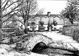 Winsford, Exmoor, Royal Oak Inn in background 1980 by Roger Dennis, Drawing, Pen on Paper