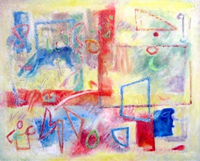 Abstract in Primaries by Roger Dennis, Painting, Acrylic on canvas