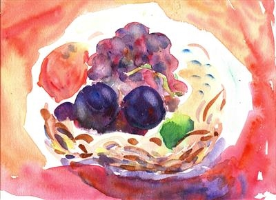 Basket of Fruit, or, A Ripe Pair of Plums by Roger Dennis, Painting, Watercolour on Paper