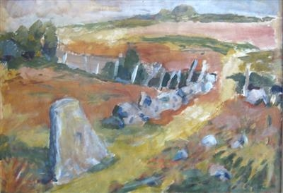 Below Saddle Tor by Roger Dennis, Painting, Acrylic on paper