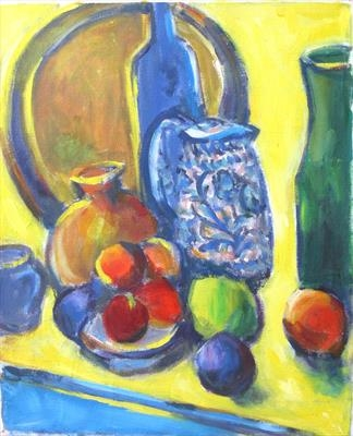 Blue jug with yellow background by Roger Dennis, Painting, Oil on canvas
