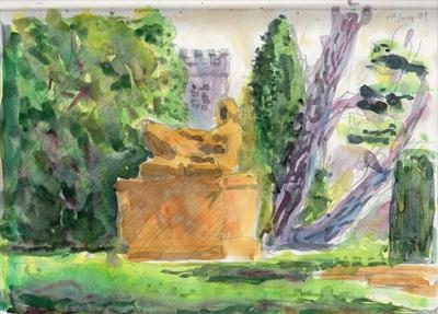 Dartington Gardens with Henry Moore statute by Roger Dennis, Painting, Watercolour on Paper