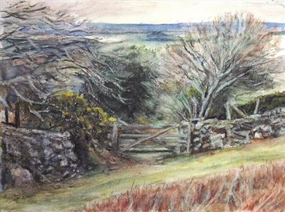 Dartmoor gate in the Rain by Roger Dennis, Painting, Watercolour over charcoal