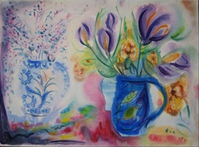 Flowers and Fishjug by Roger Dennis, Painting, Watercolour on Paper