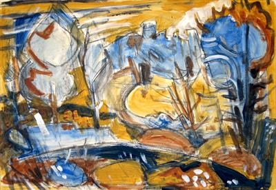 Hound Tor Yellow and Blue by Roger Dennis, Painting, Acrylic over charcoal on paper