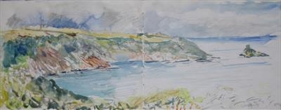 Mouth of the Dart by Roger Dennis, Painting, Watercolour and pencil