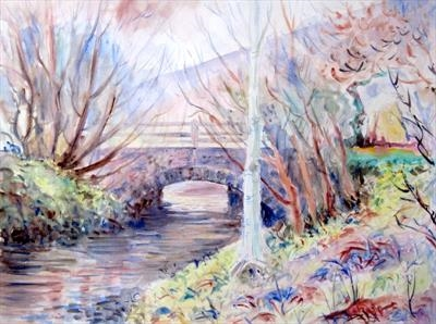 North Devon Bridge by Roger Dennis, Painting, Watercolour on Paper