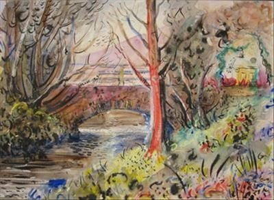 North Devon Bridge 2 (Red Tree and Bridge) by Roger Dennis, Painting, Mixed Media on paper