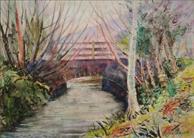 North Devon Bridge 3 by Roger Dennis, Painting, Watercolour and mixed media