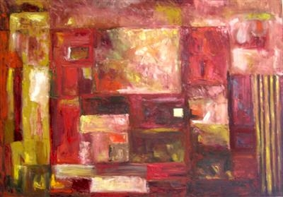 Painting in Red and Yellow by Roger Dennis, Painting, Oil on canvas