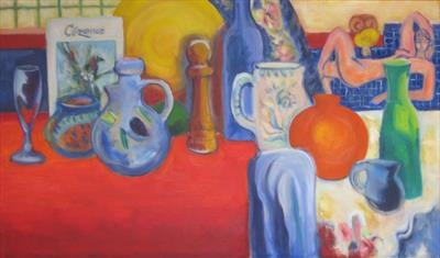 Red Studio Still Life by Roger Dennis, Painting, Oil on canvas