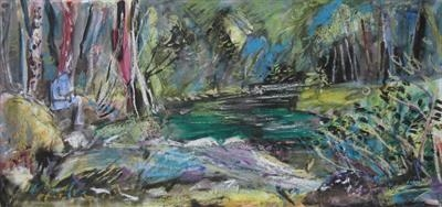 River Dart field study by Roger Dennis, Painting, Watercolour on Paper