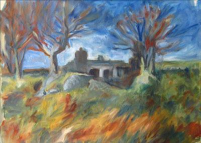 Ruined Cottage, Swincombe by Roger Dennis, Painting, Oil on Paper