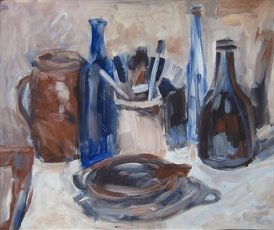 Still Life in Blue and Brown by Roger Dennis, Painting, Acrylic on paper