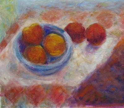 Still Life with Fruit by Roger Dennis, Painting, Oil on canvas