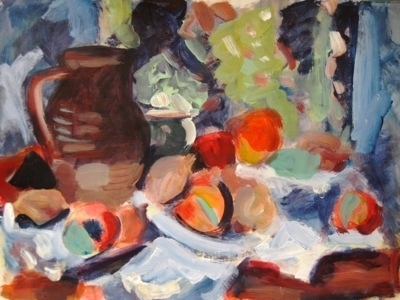Still Life with Jug, Onions, Fruit by Roger Dennis, Painting, Acrylic on paper
