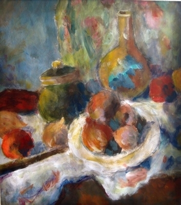 Still Life with Knife by Roger Dennis, Painting, Acrylic on paper