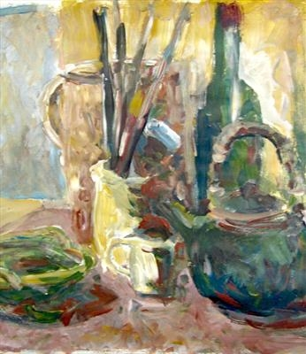 Still Life with Teapot by Roger Dennis, Painting, Acrylic on paper