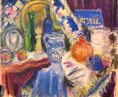 Studio Still Life with Jug and brass tray by Roger Dennis, Painting, Pastel on Paper