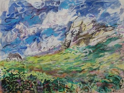 Study for Dartmoor Grazer (Haytor) by Roger Dennis, Painting, Mixed Media